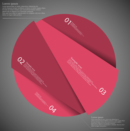 a concept: Illustration infographic template on dark background with circle randomly divided to four parts with various shades of red color. Each part has unique number. Illustration