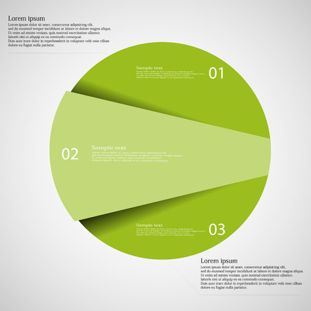 cut: Illustration infographic template on light background with circle randomly divided to three parts with various shades of green color. Each part has unique number.