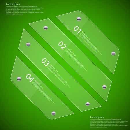 fixed: Illustration infographic template with glass hexagon divided to four parts with unique numbers. Each part is fixed by silver screw. Background is green. Illustration