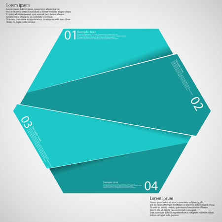 according: Hexagon illustration infographic template which is randomly divided to four blue parts. Each part has space for own text according customer needs. Background is light.