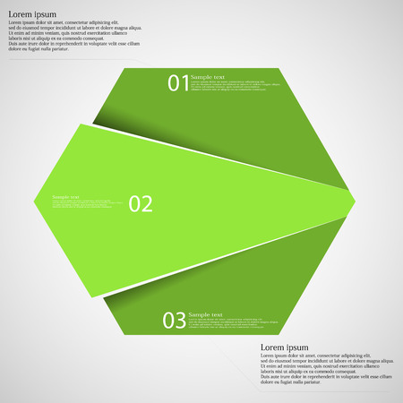 according: Hexagon illustration infographic template which is randomly divided to three green parts. Each part has space for own text according customer needs. Background is light.