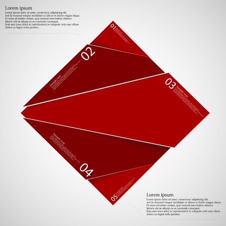 quadrat: Rectangle illustration infographic template which is randomly divided to five red parts. Each part has space for own text according customer needs. Background is light.