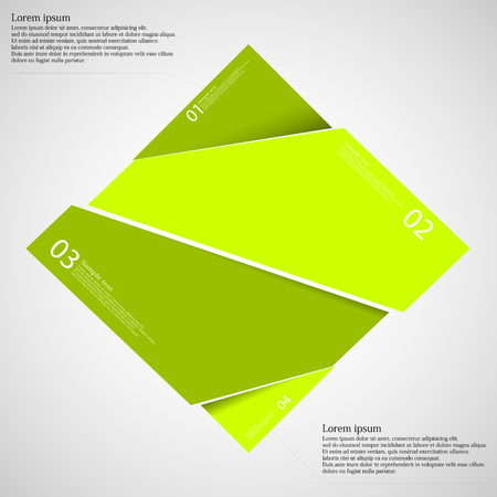according: Rectangle illustration infographic template which is randomly divided to four green parts. Each part has space for own text according customer needs. Background is light.