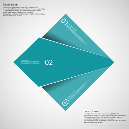 according: Rectangle illustration infographic template which is randomly divided to thee blue parts. Each part has space for own text according customer needs. Background is light.