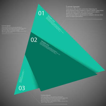 according: Triangle illustration infographic template which is randomly divided to thee blue parts. Each part has space for own text according customer needs. Background is dark.