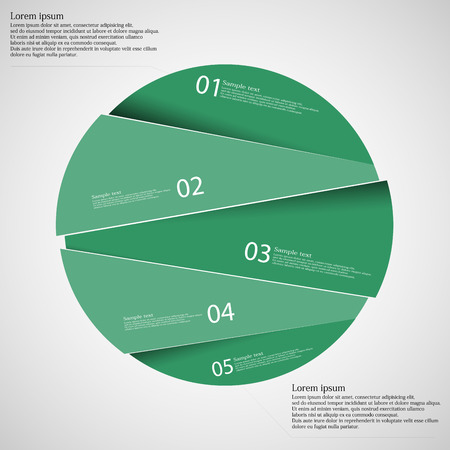 according: Circle illustration infographic template which is randomly divided to five green parts. Each part has space for own text according customer needs. Background is light.