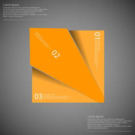 orange cut: Illustration infographic template with rectangle motif cut on three parts with space for own text and with unique number. Color is orange and background is dark.