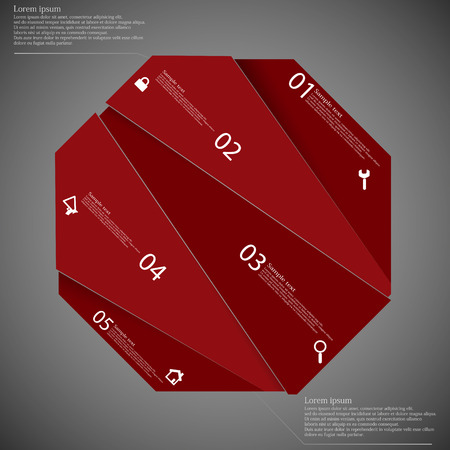 octagon: Illustration infographic template with octagon motif cut on five parts with space for own text and with unique number. Color is red and background is dark.