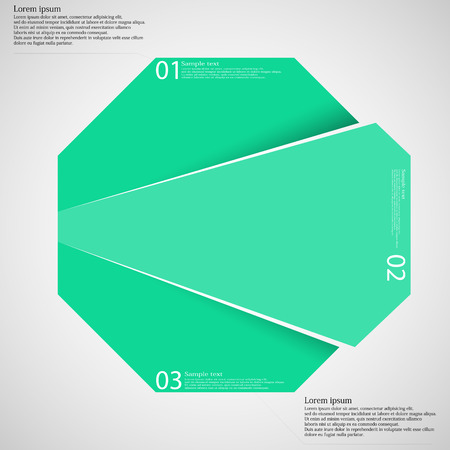 six web website: Illustration infographic template with hexagon motif cut on three parts with space for own text and with unique number. Color is green and background is light. Illustration