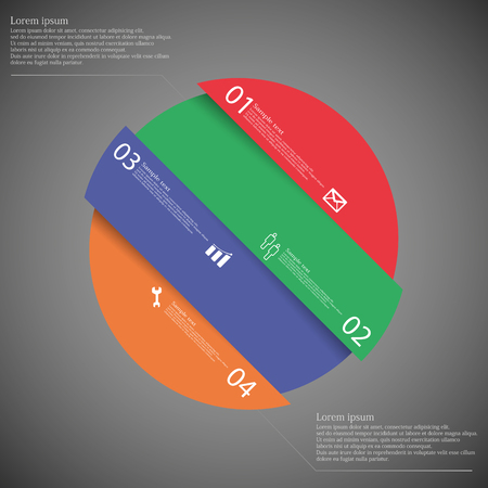 the divided: Template illustration infographic with motif of circle which is askew divided to four color parts. Each part has own number, space for text and simple sign. Background is dark. Illustration