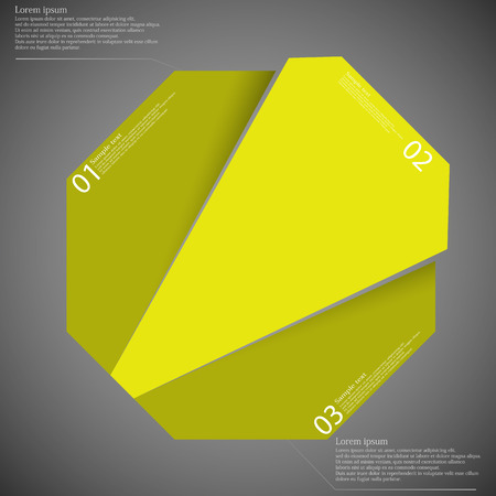 divided: Template illustration infographic with motif of octagon which is randomly divided to three yellow parts. Each part has own number, space for text. Background is dark. Illustration
