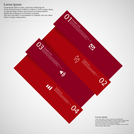 shifted: Illustration infographic template with rhombus askew divided to four red parts which are shifted to each other. Each part on light background consists own number, simple sign and space for text.