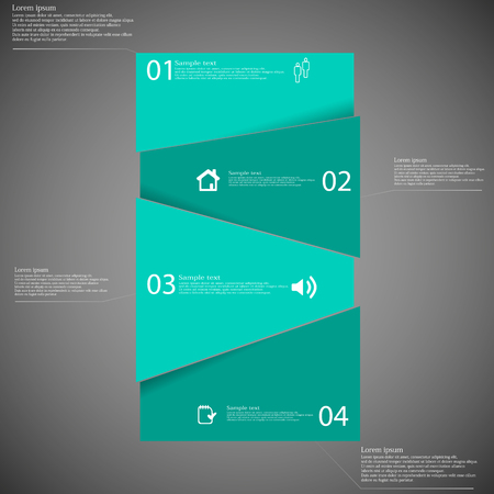 shifted: Illustration infographic template with bar randomly divided to four green parts which are shifted to each other. Each part on dark background consists own number, simple sign and space for text.