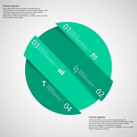 other space: Illustration infographic template with circle askew divided to four green parts which are shifted to each other. Each part on light background consists own number, simple sign and space for text. Illustration