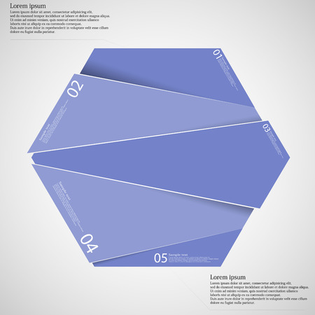 other space: Illustration infographic template with hexagon randomly divided to four five purple parts which are shifted to each other. Each part on light background consists own number, simple sign and space for text.