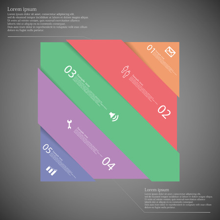 moved: Illustration infographic template with rectangle askew divided to five colorful parts which are shifted to each other. Each part on dark background consists own number, simple sign and space for text.