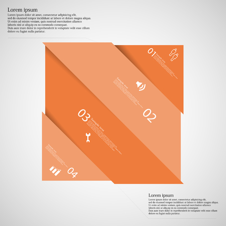 shifted: Illustration infographic template with rectangle askew divided to four orange parts which are shifted to each other. Each part on light background consists own number, simple sign and space for text. Illustration