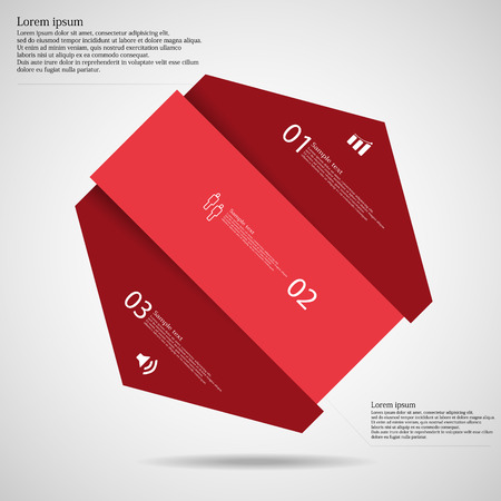 divided: Infographic template illustration with motif of hexagon divided cut to three red parts where each contains space for own text, unique number and simple symbol. Background is light.