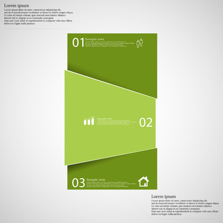 randomly: Illustration infographic template with motif of bar randomly divided to three green parts with space for own text, unique number and simple sign. Background is light. Illustration