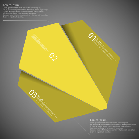 randomly: Illustration infographic template with motif of octagon randomly divided to three yellow parts with space for own text, unique number and simple sign. Background is dark. Illustration