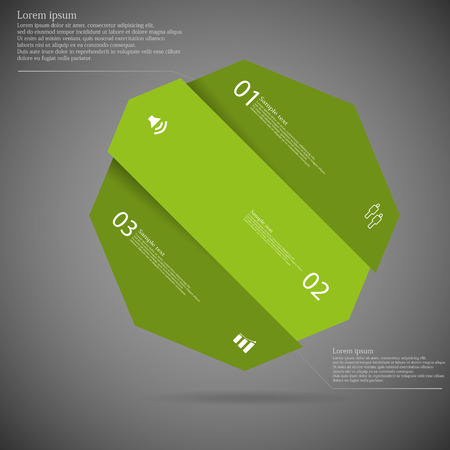 and has: Illustration infographic template with motif of octagon with shades of green color askew divided to three parts on dark background. Each part has space for text, number or own symbol.