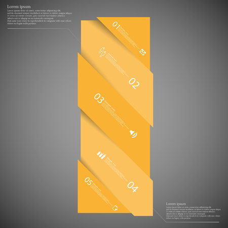 set the intention: Illustration infographic template with motif of bar with shades of orange color askew divided to five parts on dark background. Each part has space for text, number or own symbol.
