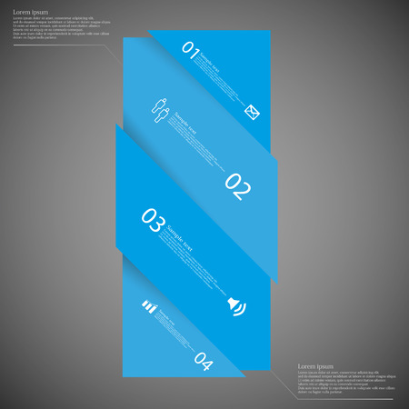 set the intention: Illustration infographic template with motif of bar with shades of blue color askew divided to four parts on dark background. Each part has space for text, number or own symbol.