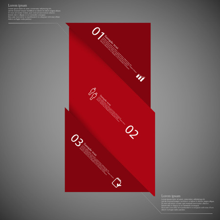 the divided: Illustration infographic template with motif of bar with shades of red color askew divided to three parts on dark background. Each part has space for text, number or own symbol.