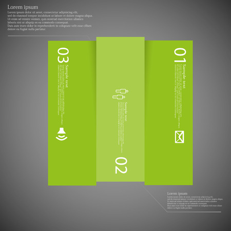replaced: Illustration infographic with motif of green square vertically divided to three parts on dark background. Each part contains simple symbol, unique number and sample text which should be replaced. Illustration