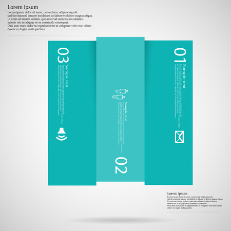 Illustration infographic with motif of blue square vertically divided to three parts on light background. Each part contains simple symbol, unique number and sample text which should be replaced.