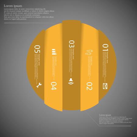 replaced: Illustration infographic with motif of orange circle vertically divided to five parts on dark background. Each part contains simple symbol, unique number and sample text which should be replaced.
