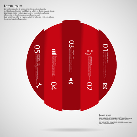 Illustration infographic with motif of red circle vertically divided to five parts on light background. Each part contains simple symbol, unique number and sample text which should be replaced.