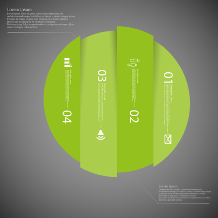 replaced: Illustration infographic with motif of green circle vertically divided to four parts on dark background. Each part contains simple symbol, unique number and sample text which should be replaced.