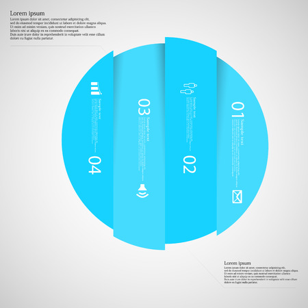 vertically: Illustration infographic with motif of blue circle vertically divided to four parts on light background. Each part contains simple symbol, unique number and sample text which should be replaced. Illustration