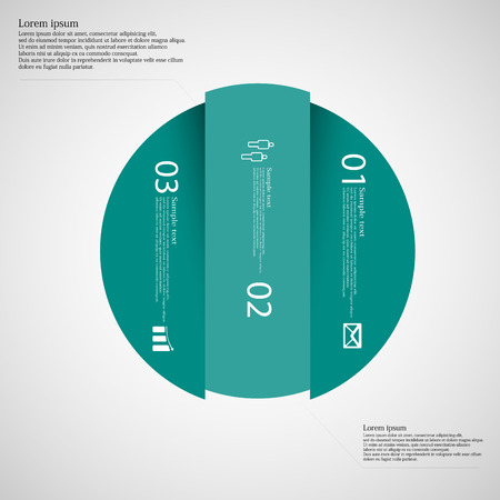 replaced: Illustration infographic with motif of blue circle vertically divided to three parts on light background. Each part contains simple symbol, unique number and sample text which should be replaced. Illustration
