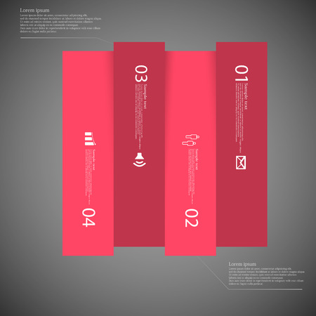 replaced: Illustration infographic with motif of red square vertically divided to four parts on dark background. Each part contains simple symbol, unique number and sample text which should be replaced.
