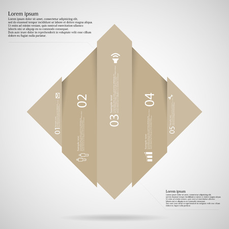 light brown: Illustration infographic template with shape of rhombus vertically divided to five light brown parts. Each part has own number, simple sign and space for customers text. Background is light. Illustration
