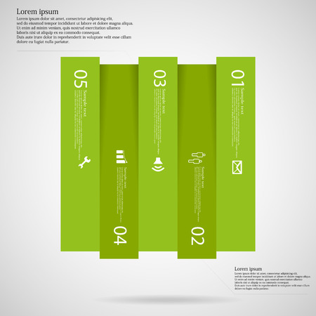 Illustration infographic template with shape of square vertically divided to five light green parts. Each part has own number, simple sign and space for customers text. Background is light.
