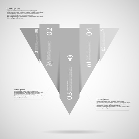 grey scale: Illustration infographic template with triangle shape vertically divided to five grey scale parts. Each part contains simple sign, unique number and Lorem Ipsum text. Background is light. Illustration