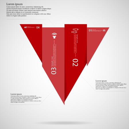 vertically: Illustration infographic template with triangle shape vertically divided to four red parts. Each part contains simple sign, unique number and Lorem Ipsum text. Background is light. Illustration