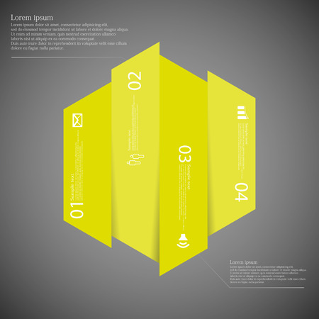 the divided: Illustration infographic template with hexagonal shape vertically divided to four yellow green parts. Each part contains simple sign, unique number and Lorem Ipsum text. Background is dark. Illustration