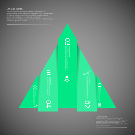 vertically: Illustration infographic template with triangle shape vertically divided to five green parts. Each part contains simple sign, unique number and Lorem Ipsum text. Background is dark.