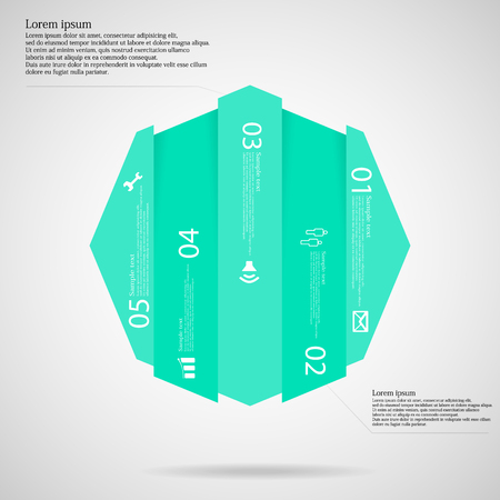 octagon: Light illustration infographic template with motif of octagon vertically divided to five the same size blue parts which contain unique number, simple sign and space for customers text. Illustration