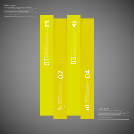 divided: Dark illustration infographic template with motif of bar vertically divided to four the same size yellow parts which contain unique number, simple sign and space for customers text.