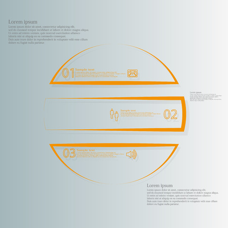 consist: Illustration infographic template consists of three orange parts created from outlines. Separate parts create a shape of circle and consist of number, sign and space for text. Background is light blue.