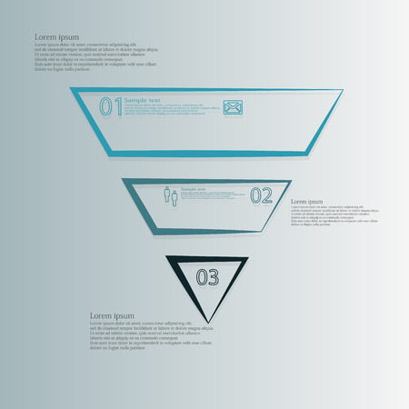 divided: Triangle illustration infographic template horizontally divided to three parts with different colors.