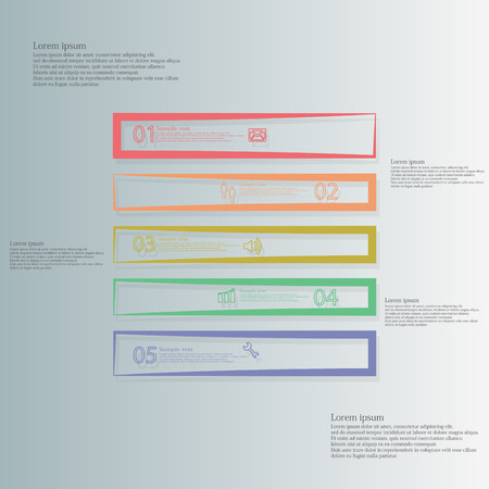 divided: Square illustration infographic template horizontally divided to five parts with different colors.