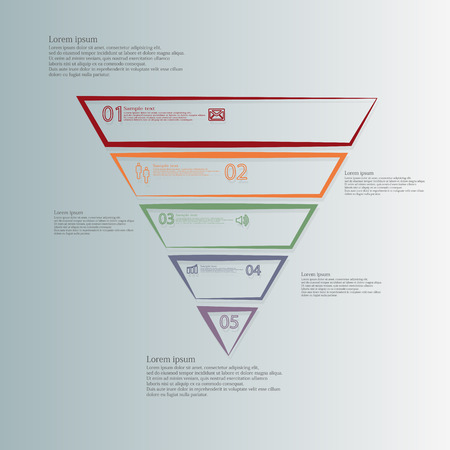 divided: Triangle illustration infographic template horizontally divided to five parts with different colors.