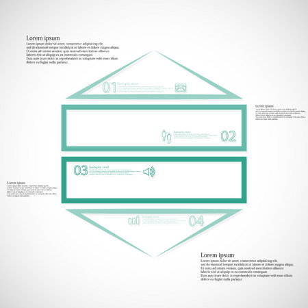 ligh: Illustration infographic template with shape of hexagon divided to four green parts created just by outline. Each part contains sample text, simple sign and unique number. Background is ligh.
