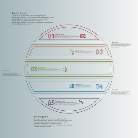 the divided: Illustration infographic template with motif of circle horizontally divided to five color parts created by thin double outlines or contours. Each part has simple sign, number and sample text. Illustration